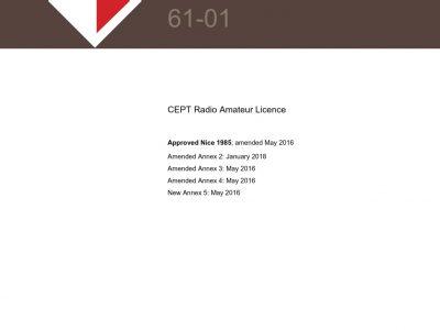 CEPT Recommendation T/R 61-01