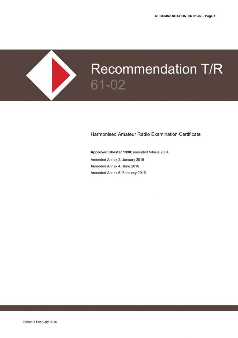 CEPT Recommendation T/R 61-02